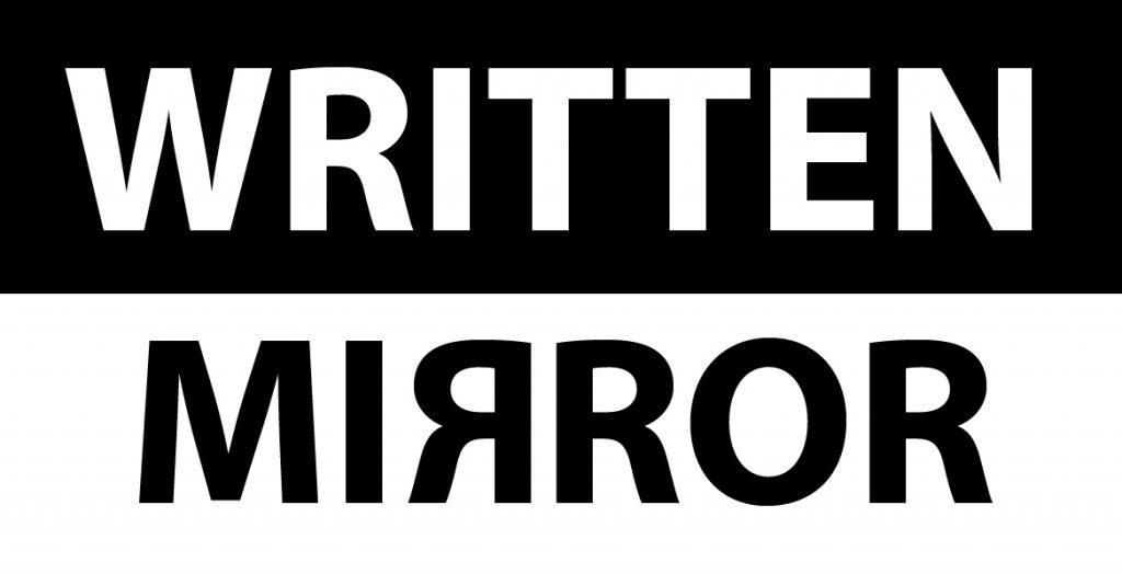 written mirror logo in black extra large